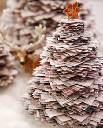 Martha Stewart recommends making this tree with newspaper pages, but book pages would work just as well. You're gonna spray these pages with glue and cover them with glitter, so even an old textbook you'll never use again would work.