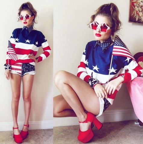 'merica.Ball, Fashion Statement, Usa Flags, Stars, Fashion Forward, Red White Blue, Outfit, 4Th Of July, Fivestar Jumpers