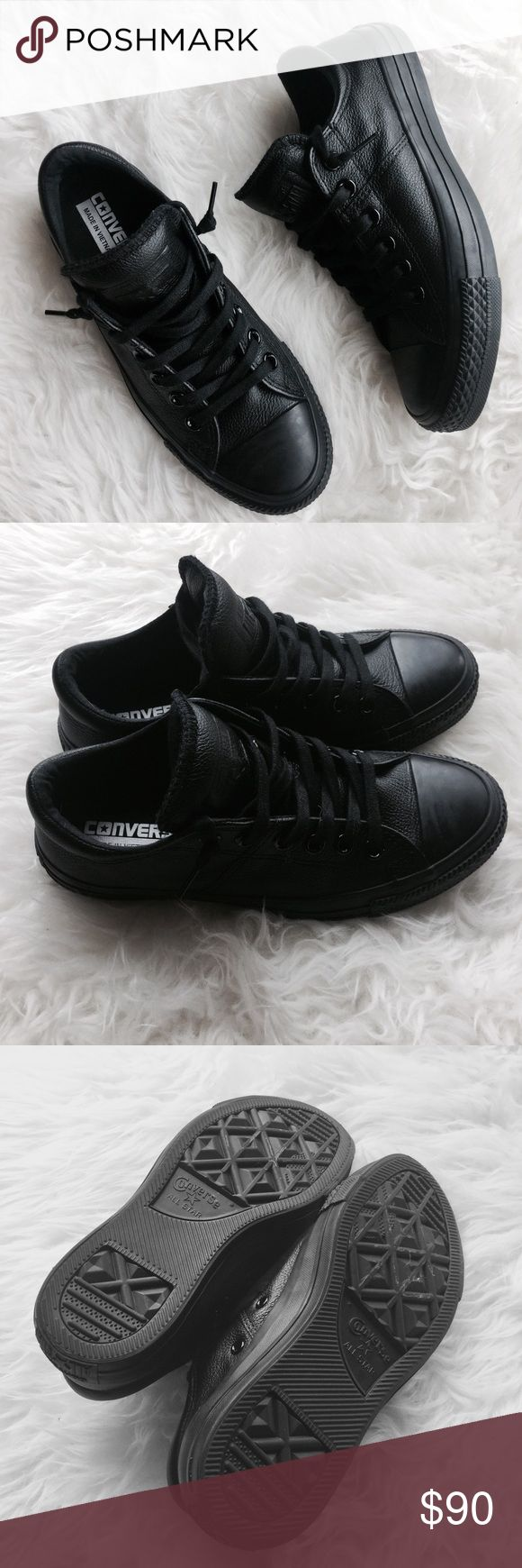 Black on Black Genuine Leather Low Top Converse Size 6.5. New without box. Have only been tried on around the house. Super chic low top black on black genuine leather converse. Converse Shoes Sneakers