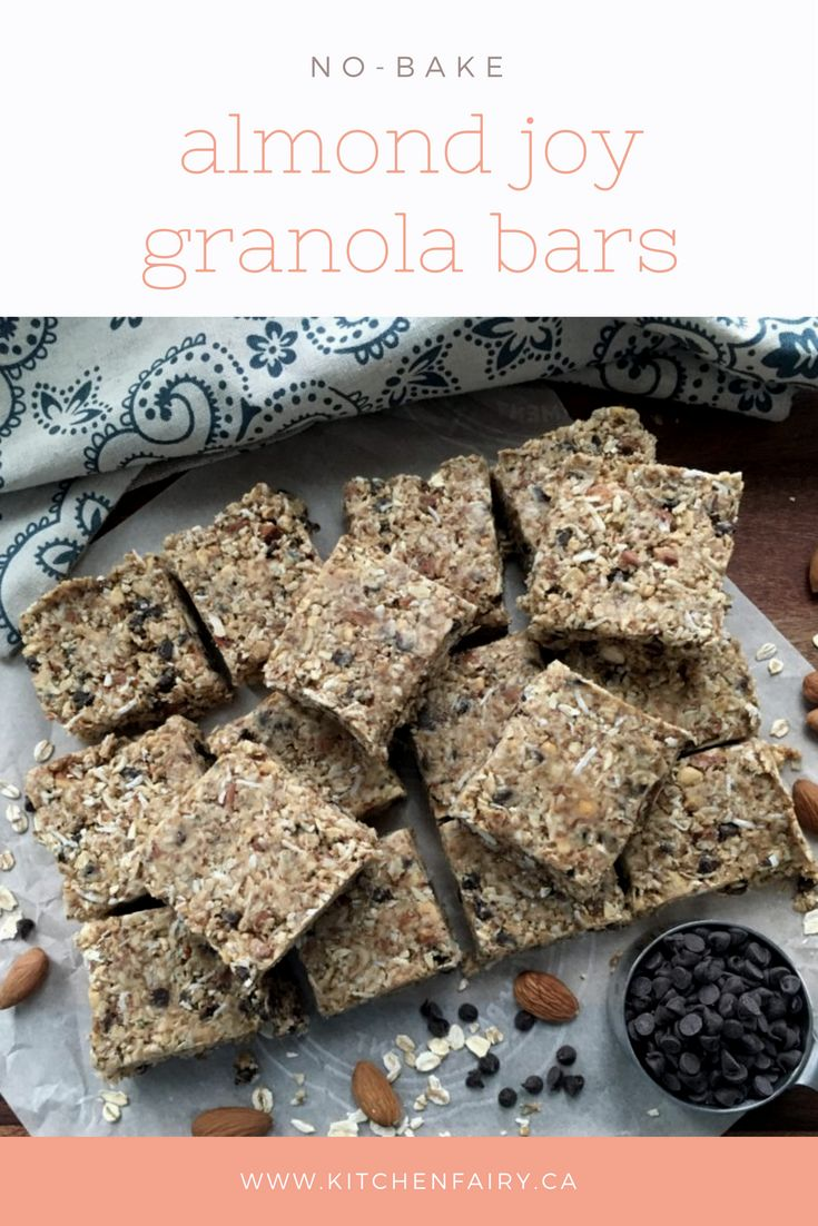 Eat one of these healthy granola bars a day to get your almond joy fix while loading up on fibre and protein without any added sugar or fat. Soft, chewy, coconut-y, these bars are full of crunchy almond goodness and dark chocolate chips. They are a joy! No baking required!