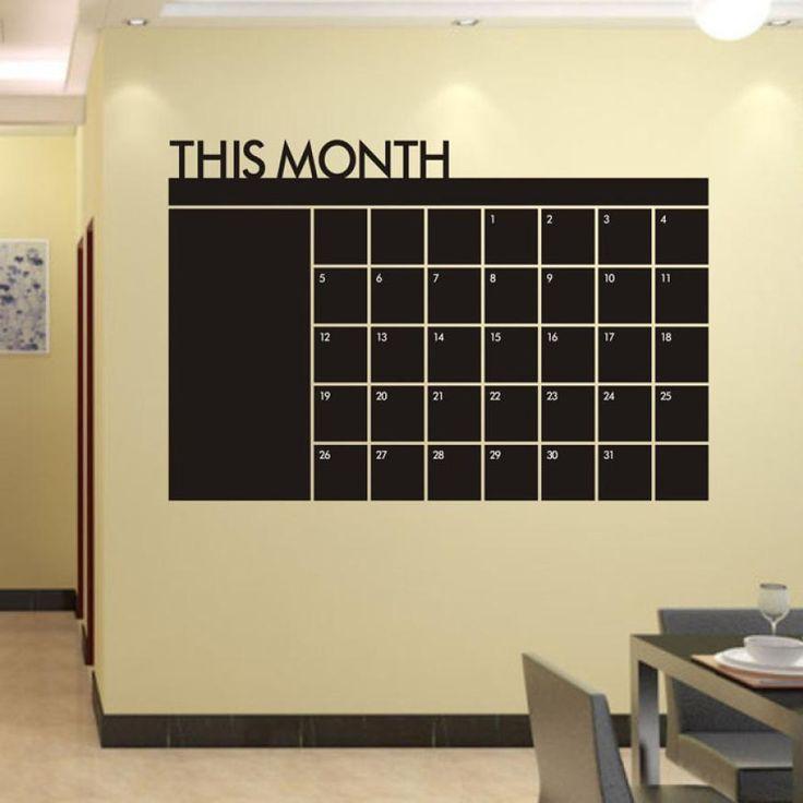 Month Calendar Chalkboard Wall Decal
