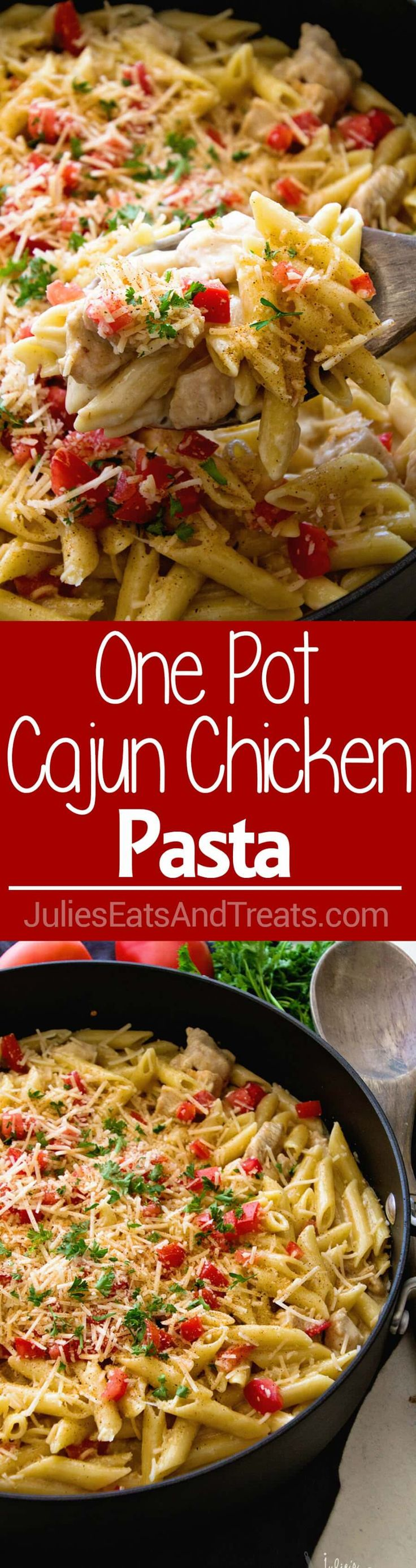 One Pot Cajun Chicken Pasta ~ Creamy Pasta Sauce with Chicken, Cheese and the Perfect Amount of Cajun Spice! Easy Dinner Recipe That's Better Than a Restaurant's! via @julieseats