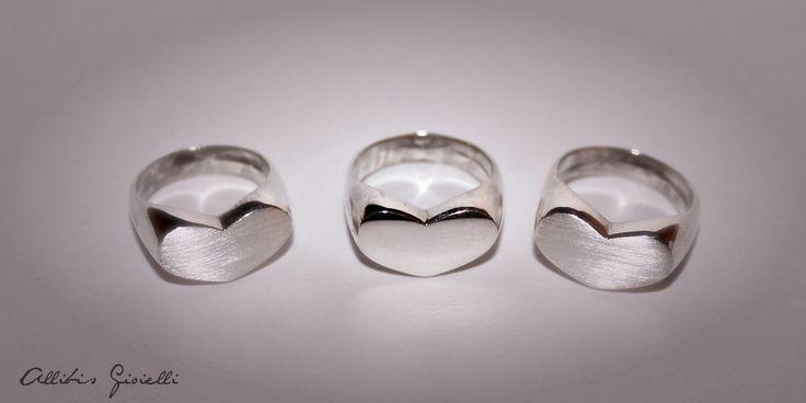 Anelli da mignolo a forma di Cuore, realizzati a mano; lucidi o satinati, realizzati in argento!