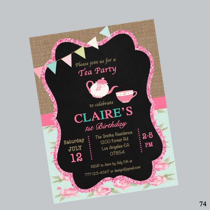 printable horse birthday party invitations free%0A  st birthday invitation shabby chic invitation first birthday one tea party  birthday