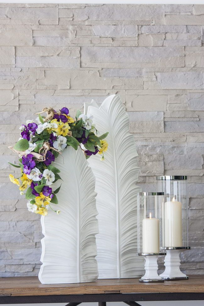 Leaf Vase + Candleholder #PureLiving #GreenApple #GAhomestyle #homestyle #Sideboard #white #minimal