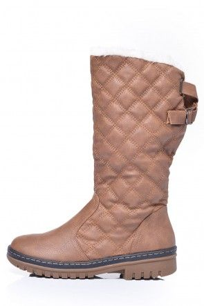 Vicki Fur Trim Quilted Boots in Tan
