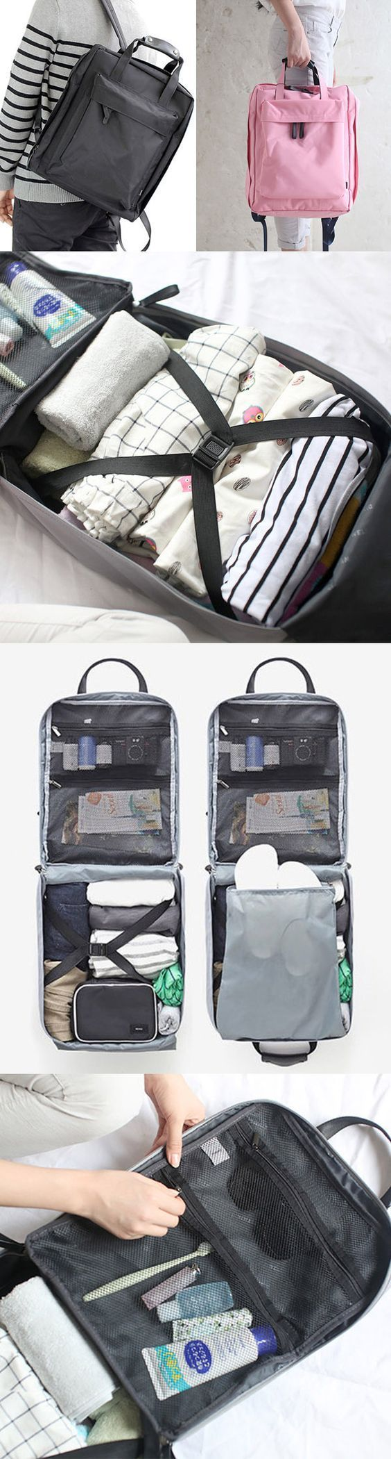 Unisex Travel Packing Bags Waterproof Nylon Storage Backpack Outdoor Women Men Handbag Bagail.com