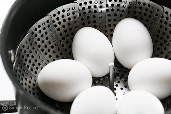 The best way to hard cook eggs? Steam them! That way they peel easily.