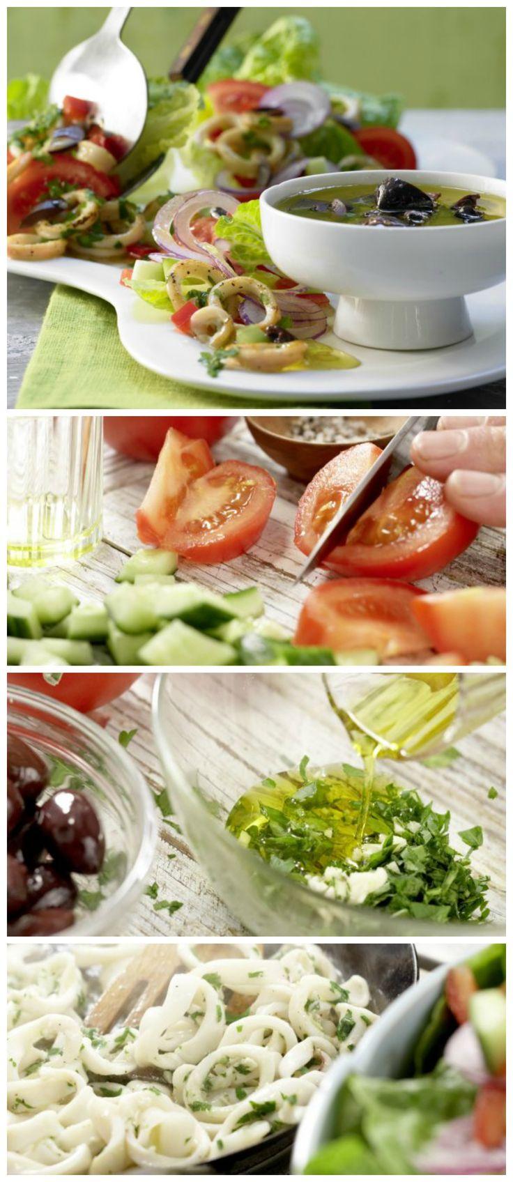 Die bunte Mischung liefert Urlaubserinnerungen frei Haus:Griechischer Tintenfischsalat mit Gurke und Paprika   http://eatsmarter.de/rezepte/griechischer-tintenfischsalat#recipe-tabs