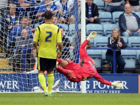 Darren Randolph can't prevent Leicester City scoring at the King Power Stadium. August 2013. #BCFC
