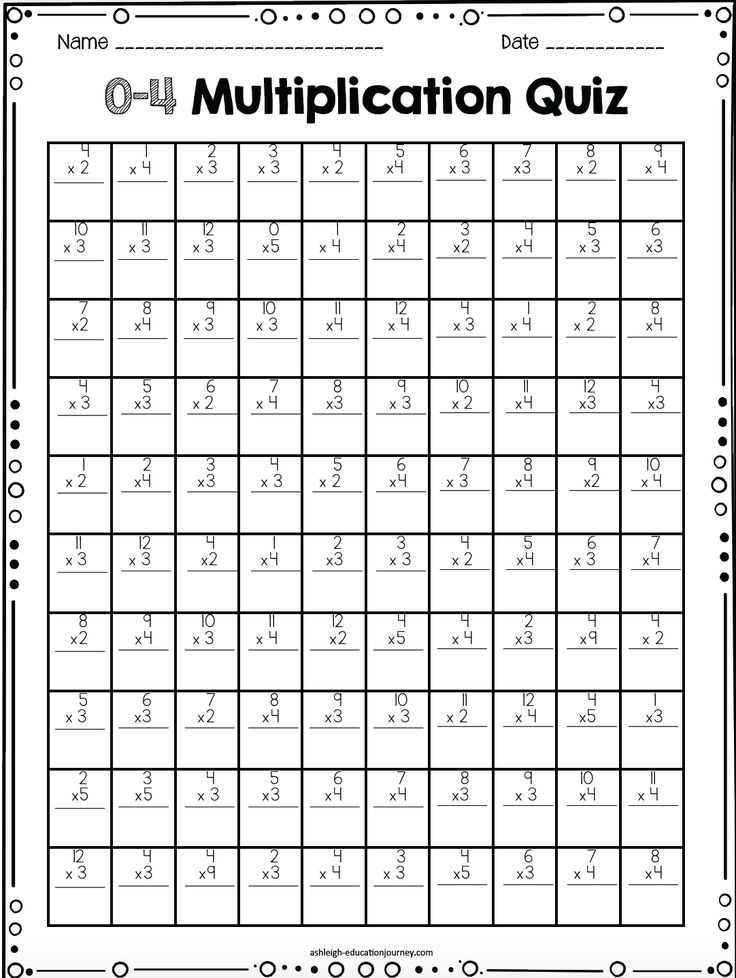 multiplication timed test