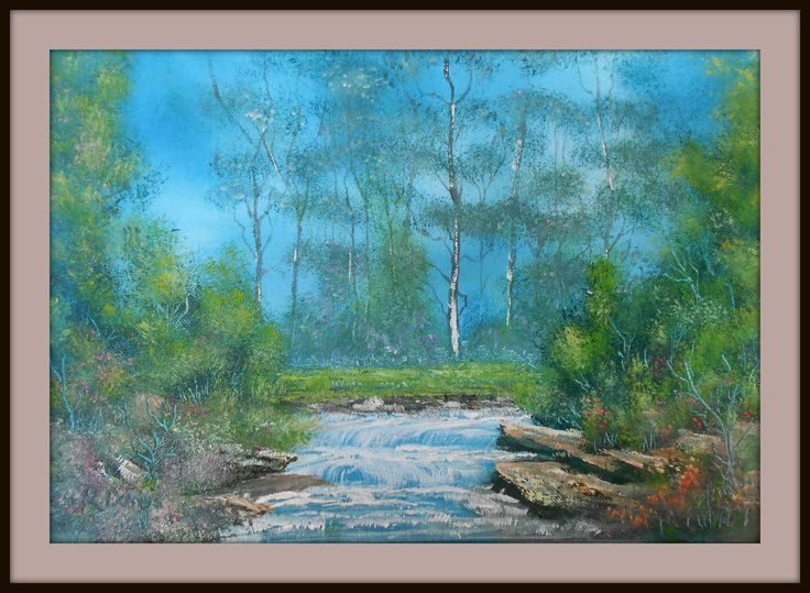 Forest River. Painted on 20/8/2013 using 2 & 3 inch house painting brushes wet on wet . Detail with Fan brush and pallet knife. size 410 mm x 600 mm. for Sale $ 25
