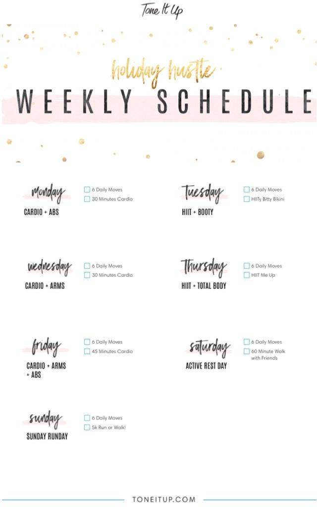 Your Weekly Workout Schedule Tiu Holiday Hustle