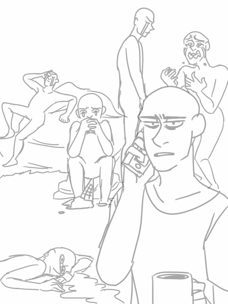Jena's drinking coffee, Yume's boyfriend is crying While staring at his hands, Maryam is crying on the couch in style, Roxy's crying at her ice cream, Mikatao is crying while looking downwards, and Maryam's boyfriend is laying on the ground.