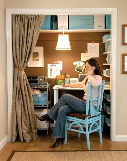 Every writer needs a dedicated space. I love this creative little niche made from a repurposed closet. Where there's a will, there's a way.