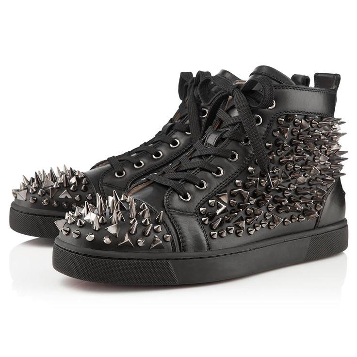 Christian Loubtain - LOUIS PIK PIK FLAT , Leather, Black/Gun, Men Shoes. Red  Bottom ...