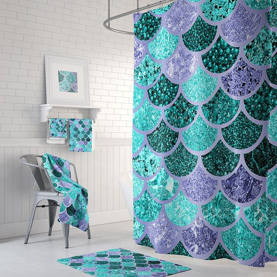 Beautiful Mermaid Shower Curtain With A Montage Of Mixed Textures And Colors Please Note Scales A Girl Bathroom