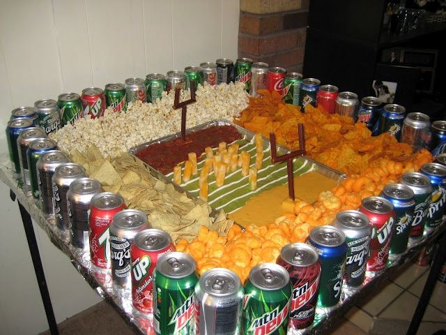 super bowl party tray ideas | Super bowl snack stadium- chip dip and drinks