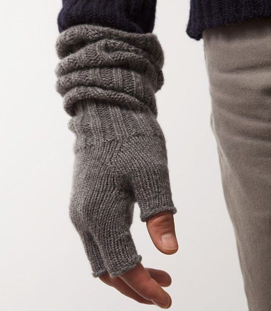 Robin Fingerless Wristwarmers in Derby Grey by ESK Cashmere (www.eskcashmere.com)