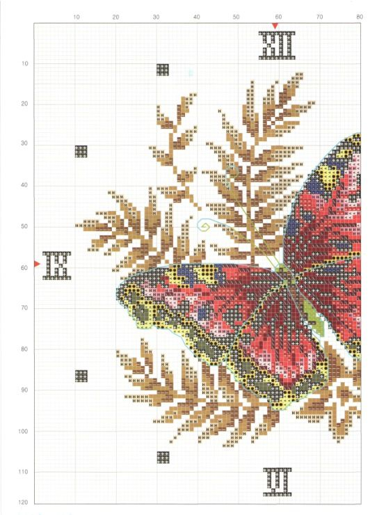 Cross-stitch Butterfly Clock-face part 1..  color chart on part 2...     Gallery.ru / Фото #2 - ***** - celita