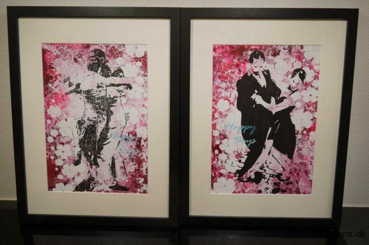 Tango, Happy days. Malerierne er inspireret af mine forældre, der begyndte at danse tango efter at min far havde været igennem en svær hjerteoperation. Danserne på billedet er mine forældres venner, nogle meget dygtige Argentinske tangodansere fra B.A.