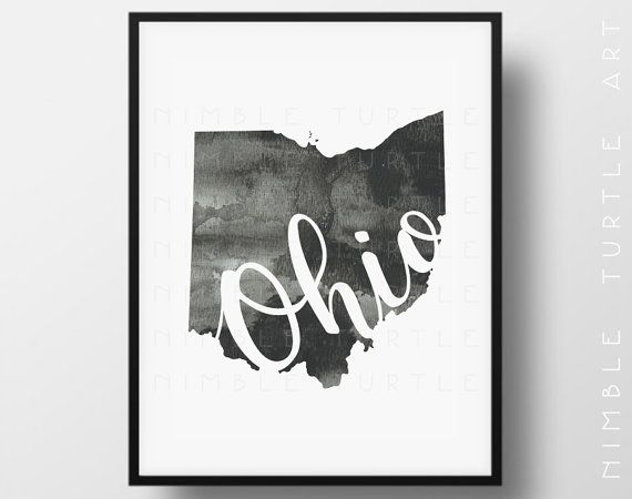 Ohio State Outline Watercolor  -  Typography Printable Download