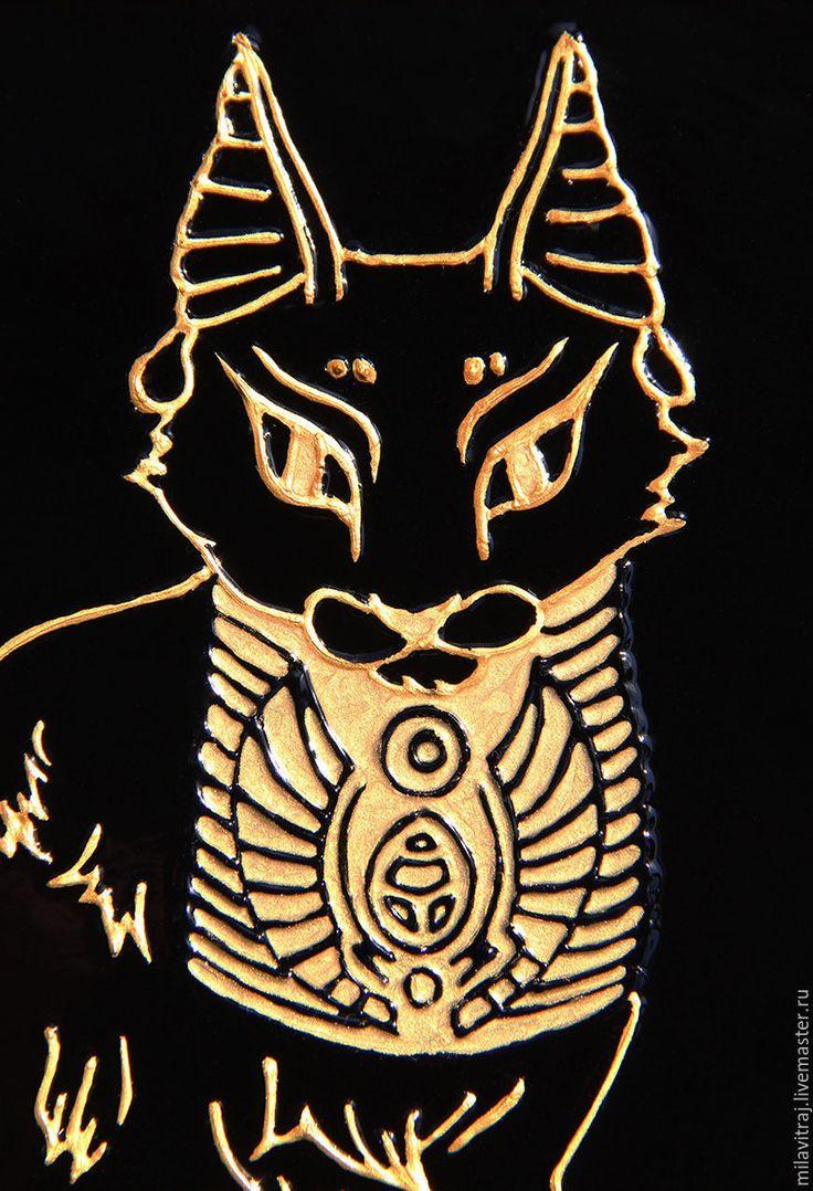 """Витражная роспись """"Бастед"""" египетская кошка - стекло, картина на стекле, роспись на стекле, египет"""