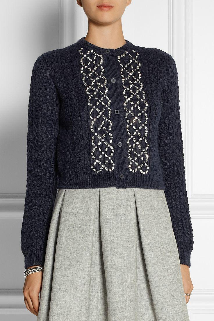 Miu Miu Crystal-embellished cable-knit cardigan NET-A-PORTER.COM