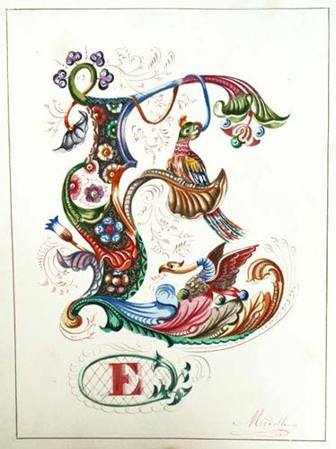 Alphabet Gothique par Midolle. (1845). A manuscript alphabet book of calligraphic paintings, signed by the artist, Jean Midolle.