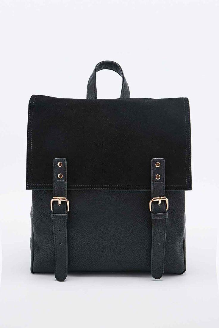 Deena & Ozzy Suede Panel Backpack in Black