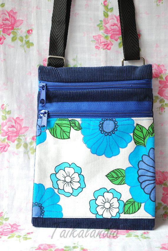 Blue Hand dyed Corduroy Messenger Bag  Blue Retro by TaikaLand