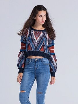 Shop Multicolor Chevron Pattern Chunky Knit Jumper from choies.com .Free shipping Worldwide.$39.9
