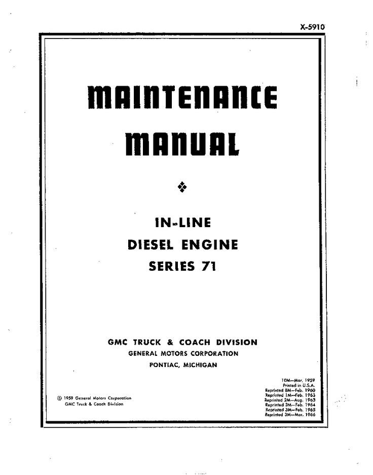 Detroit Diesel in line series 71 Operation and Maintenance