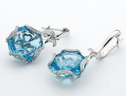 18k White Gold Diamond and Topaz Lever Back Earrings