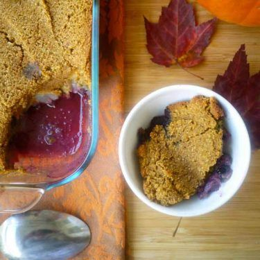 Blueberry-Pear Cobbler with a Soft Pumpkin Cookie Crust (paleo, GF) | Perchance to Cook, www.perchancetcook.com