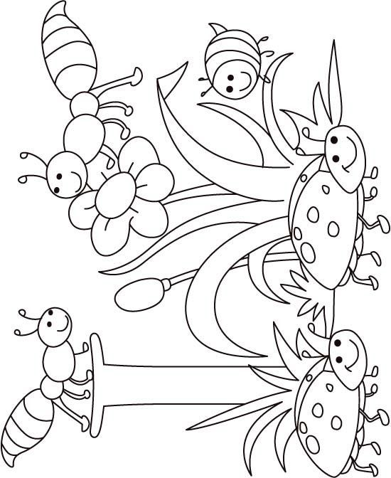 I for insect coloring page for kids