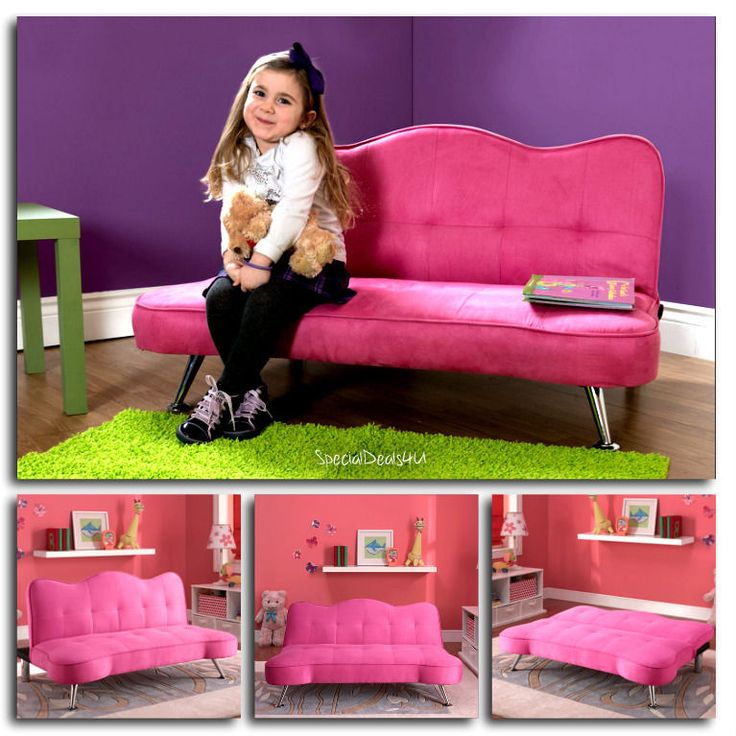Pink Sofa Kids Girls Futon Sleeper Couch Lounge Chair Child Chaise Bed Play Room #Ameriwood