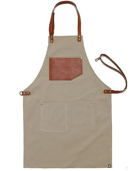Premium Gift for woman and man Chef Works Handmade Apron Japanese Cross Back - Canvas leather string Apron Light brown