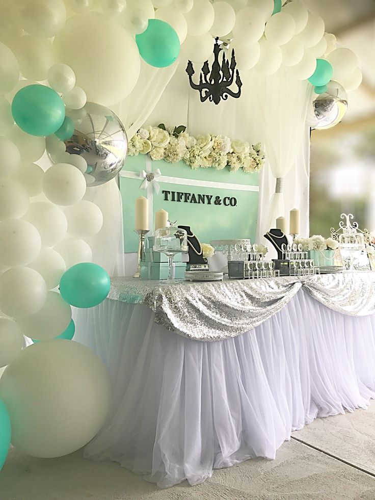 Tiffany Amp Co Backdrop Balloon Garland Mint Silver White
