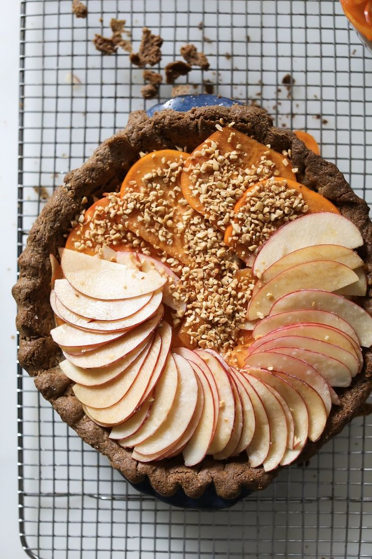 Apple and Persimmon Pie with Bourbon Caramel and Hazelnuts  — FEED THE SWIMMERS
