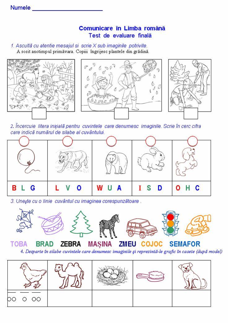 Materiale didactice de 10(zece): Test de evaluare finală-CLR, clasa pregătitoare