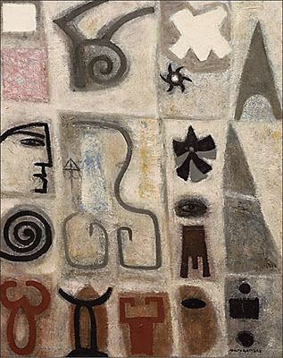 thinking of stamps and shapes in printmaking Adolph Gottlieb - click to see more works.