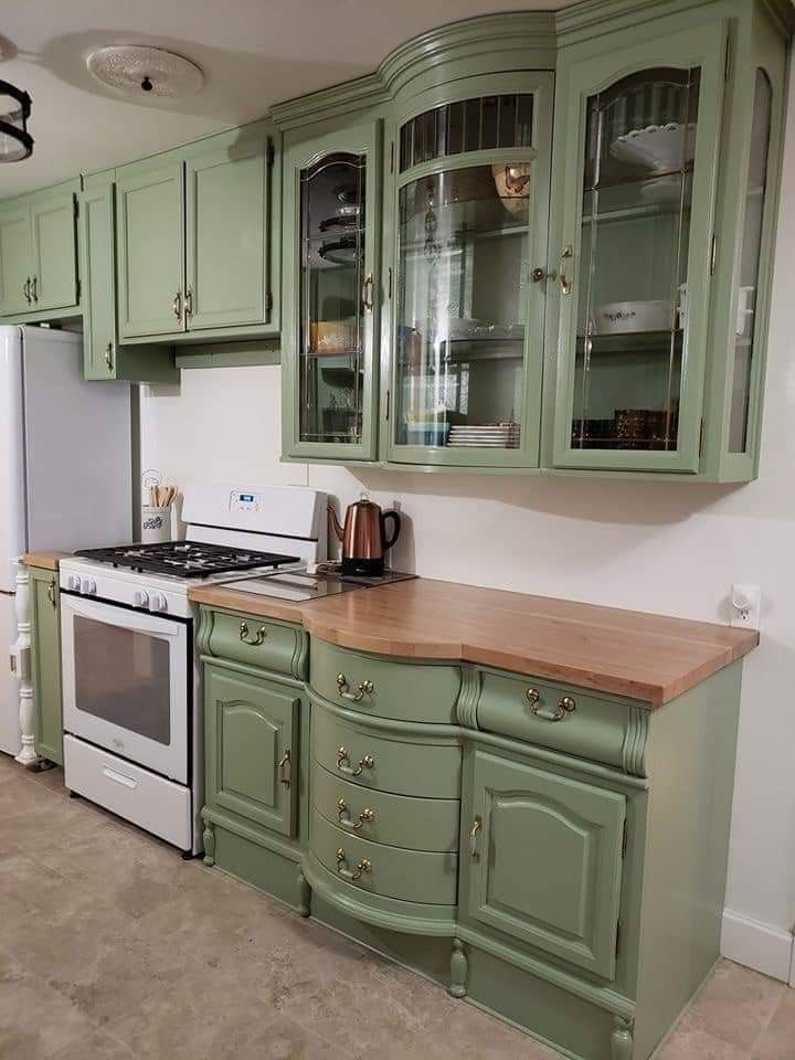 Someone Repurposed A China Cabinet As Upper And Lower Kitchen