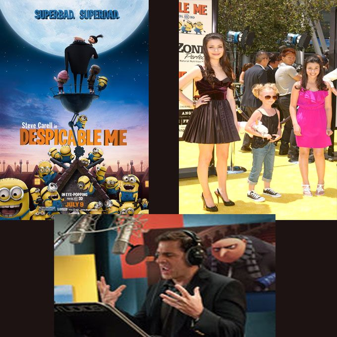 Despicable Me ~ Miranda Cosgrove as Margo, Elsie Fisher as Agnes, Dana Gaier as Edith and Steve Carell as Gru.  Additional voices included Jason Segel as Vector, Russell Brand as Dr. Nefario, Julie Andrews as Gru's Mom, Will Arnett as Mr. Perkins and Kristen Wiig as Miss Hattie [who also provided the voice of Lucy in Despicable Me 2