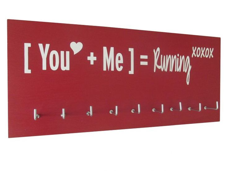 Sweet little valentine gift for runners. The mathematics of love and running. Use this medal holder to display all your running medal. All medal hanger rack starts at $24.99 Take an extra 10% off use code GiveThanks at check out!