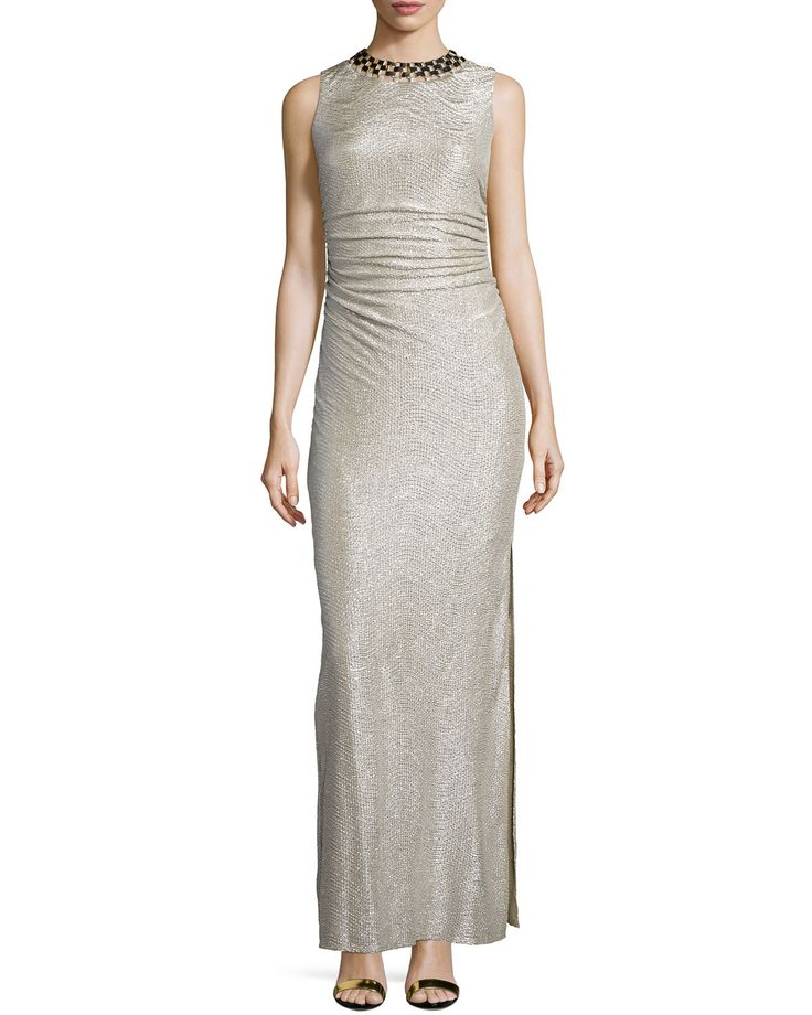 Embellished-Neck Shirred Gown, Gold/Silver - Laundry by Shelli Segal