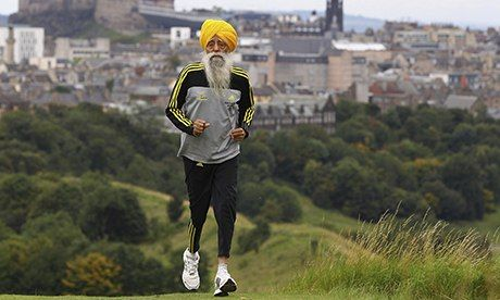 102-year-old Fauja Singh. Worlds oldest runner.