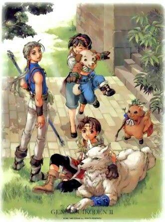 Suikoden 2 - Riou, Joey, Nanami, Mukumuku, Shiro and Gabocha