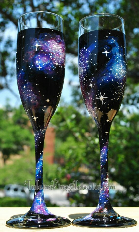 #RenshawDreamWedding Hand Painted Cosmos Champage Glasses Galaxy by TulaczFineArts, $30.00 outer space, space, galaxy, stars, nebula, milky way, wedding glasses, bride and groom glasses, champagne flutes, toasting flutes, wedding decorations, wedding ideas, geek wedding, nerd wedding