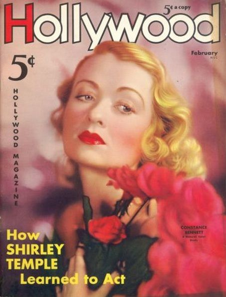 """Constance Bennett on the cover of """"Hollywood"""" magazine, USA, February 1936."""